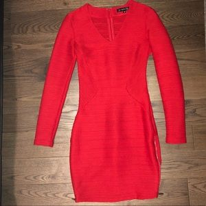 Dynamite Red Long Sleeve Tight Dress